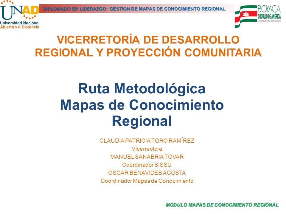 MODULO MAPAS DE CONOCIMIENTO REGIONAL DIPLOMADO EN LIDERAZGO: GESTION DE MAPAS DE CONOCIMIENTO REGIONAL VICERRETORÍA DE DESARROLLO REGIONAL Y PROYECCI