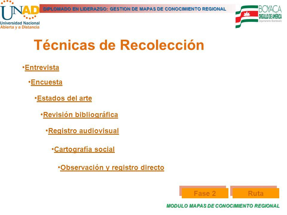 MODULO MAPAS DE CONOCIMIENTO REGIONAL DIPLOMADO EN LIDERAZGO: GESTION DE MAPAS DE CONOCIMIENTO REGIONAL Técnicas de Recolección Entrevista Encuesta Es