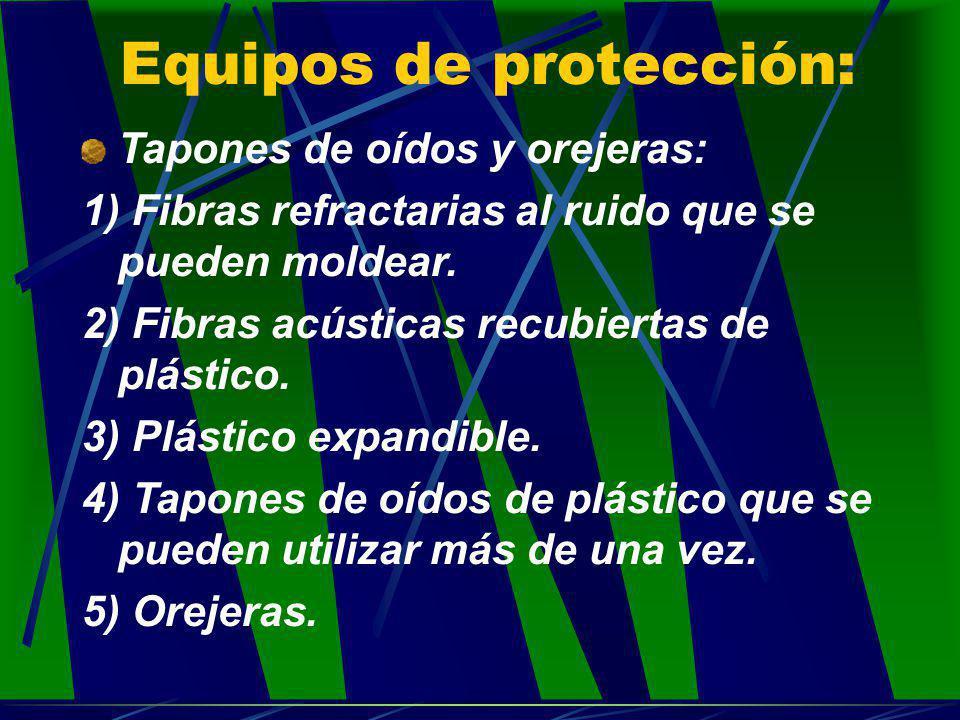 Equipos de protección: Tapones de oídos y orejeras: 1) Fibras refractarias al ruido que se pueden moldear. 2) Fibras acústicas recubiertas de plástico