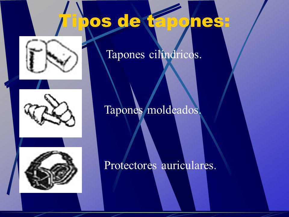 Tipos de tapones: Tapones cilíndricos. Tapones moldeados. Protectores auriculares.