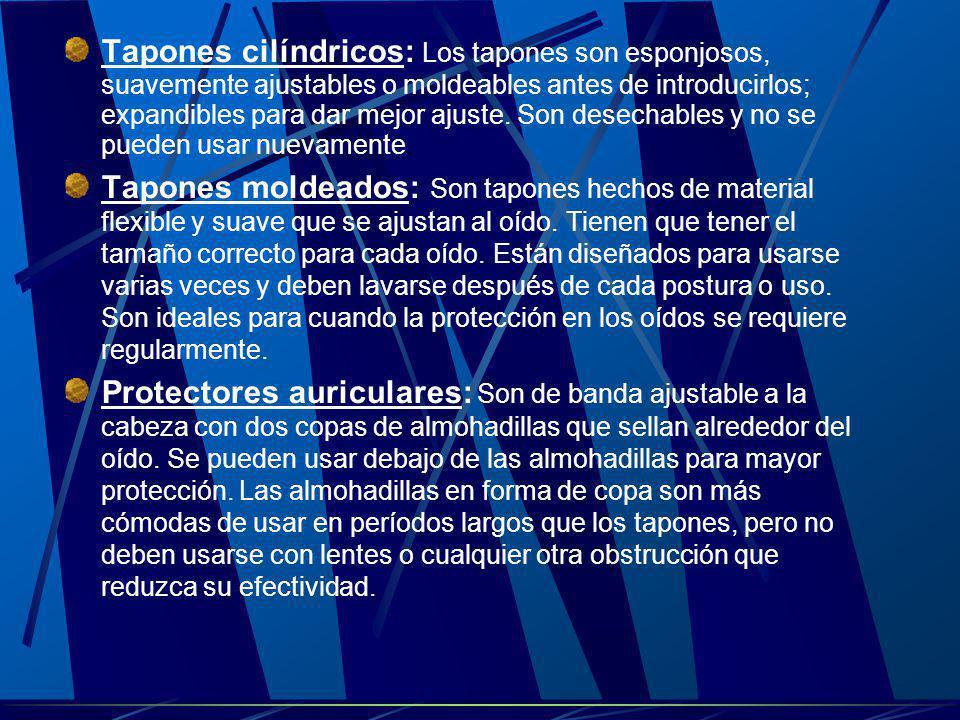 Tapones cilíndricos: Los tapones son esponjosos, suavemente ajustables o moldeables antes de introducirlos; expandibles para dar mejor ajuste. Son des