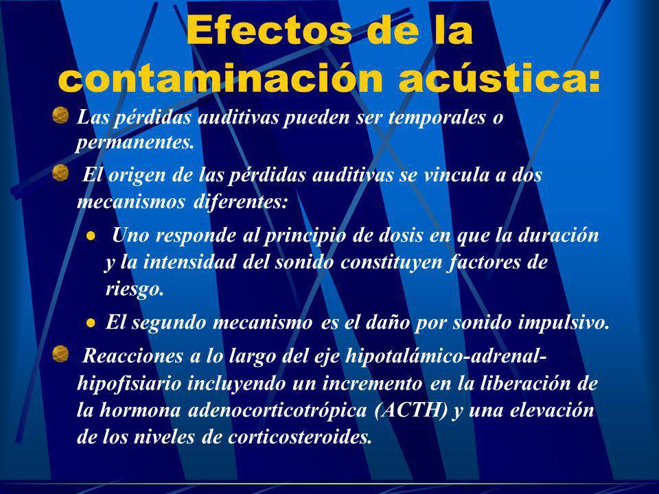 Efectos de la contaminación acústica: Las pérdidas auditivas pueden ser temporales o permanentes. El origen de las pérdidas auditivas se vincula a dos