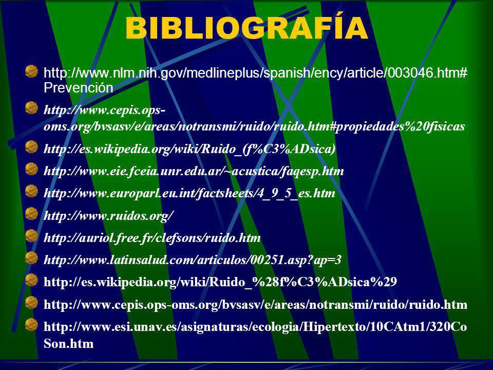 BIBLIOGRAFÍA http://www.nlm.nih.gov/medlineplus/spanish/ency/article/003046.htm# Prevención http://www.cepis.ops- oms.org/bvsasv/e/areas/notransmi/rui