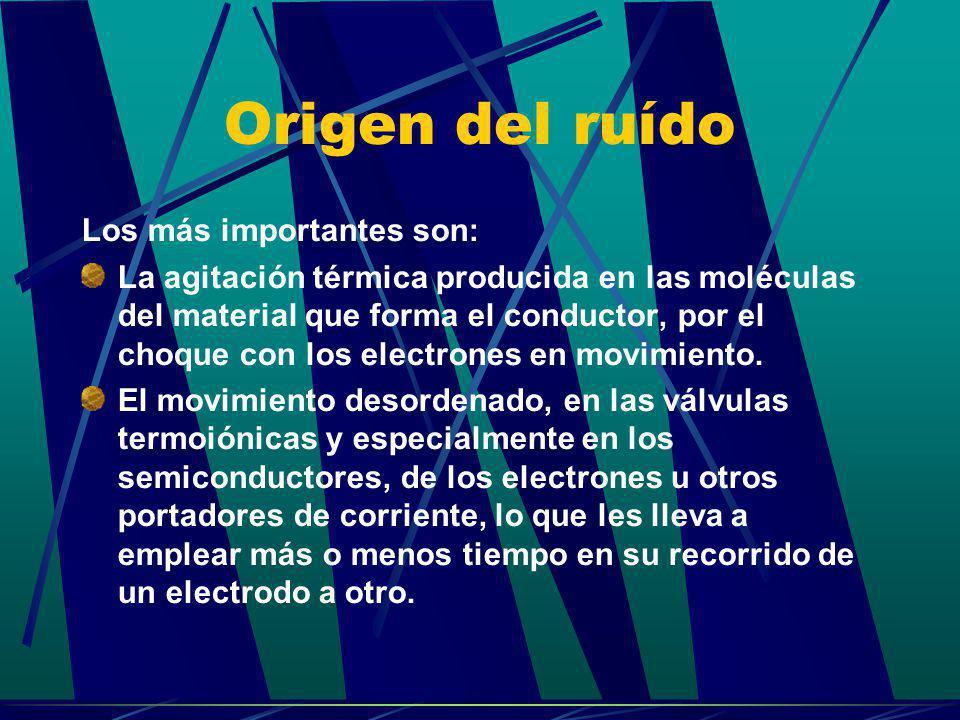 Origen del ruído Los más importantes son: La agitación térmica producida en las moléculas del material que forma el conductor, por el choque con los e