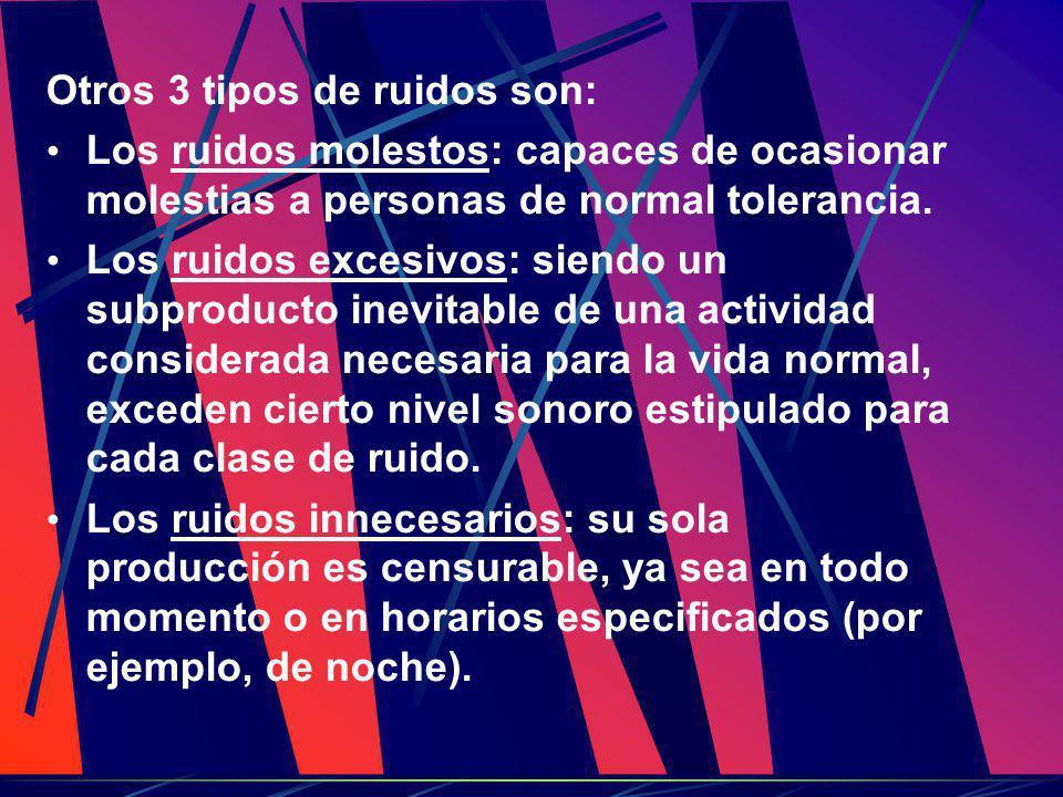 Otros 3 tipos de ruidos son: Los ruidos molestos: capaces de ocasionar molestias a personas de normal tolerancia. Los ruidos excesivos: siendo un subp