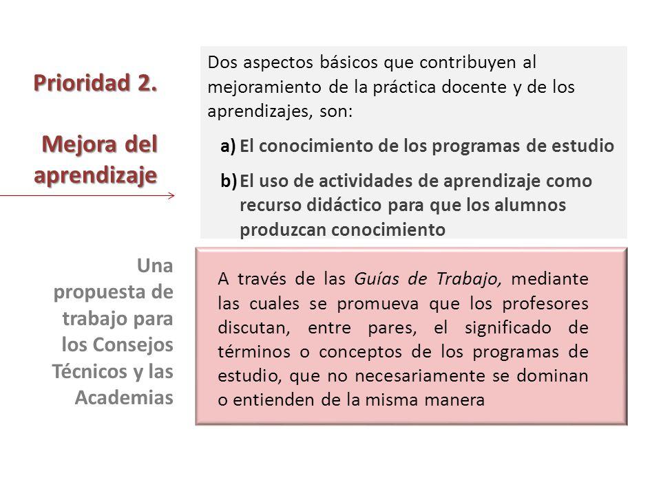 Prioridad 2. Mejora del aprendizaje Dos aspectos básicos que contribuyen al mejoramiento de la práctica docente y de los aprendizajes, son: a)El conoc