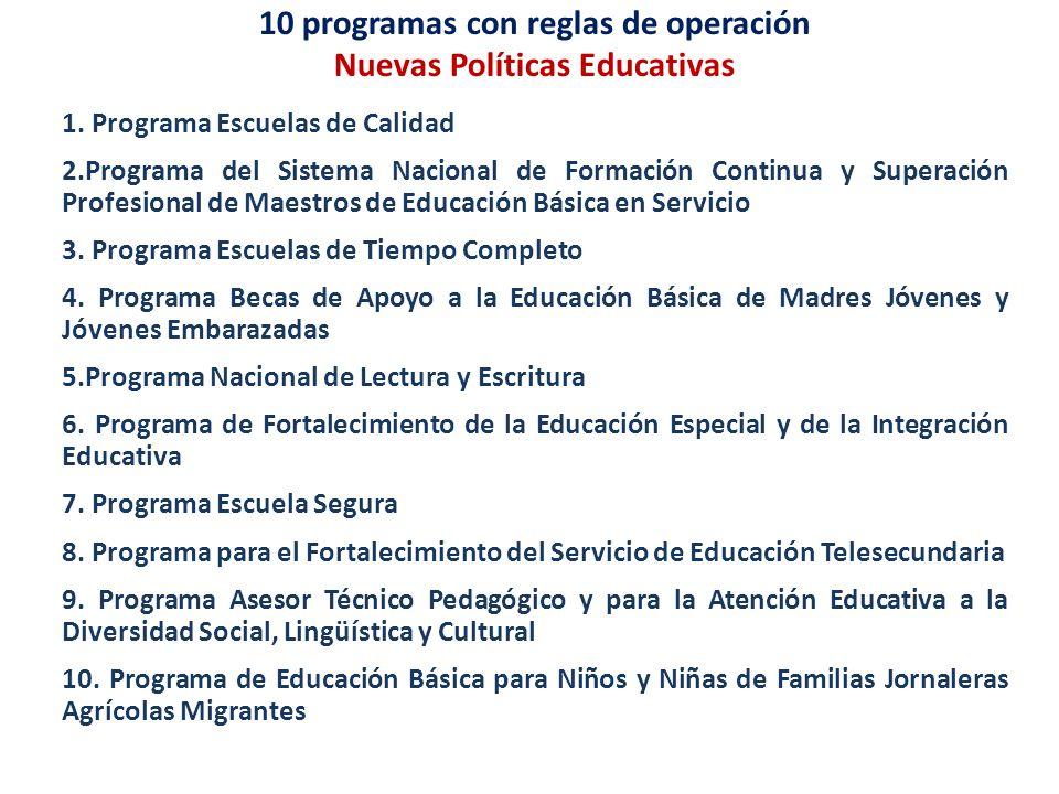 10 programas con reglas de operación Nuevas Políticas Educativas 1. Programa Escuelas de Calidad 2.Programa del Sistema Nacional de Formación Continua
