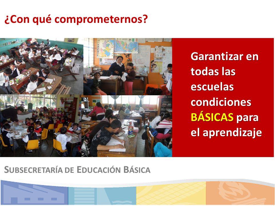 ¿Con qué comprometernos? S UBSECRETARÍA DE E DUCACIÓN B ÁSICA Garantizar en todas las escuelas condiciones BÁSICAS para el aprendizaje