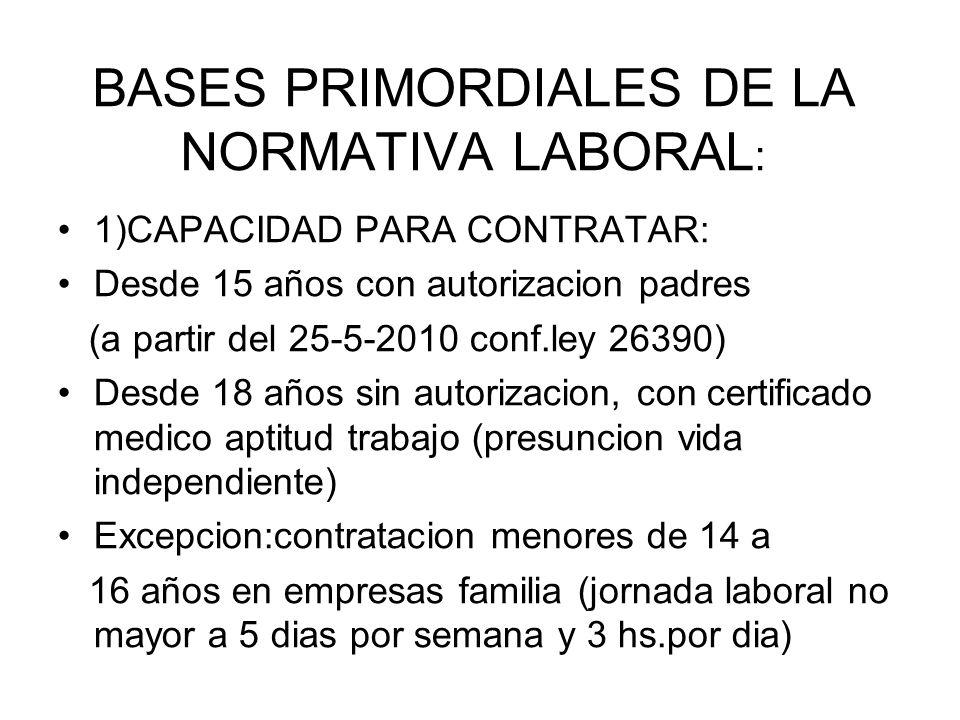 BASES PRIMORDIALES DE LA NORMATIVA LABORAL : 1)CAPACIDAD PARA CONTRATAR: Desde 15 años con autorizacion padres (a partir del 25-5-2010 conf.ley 26390)