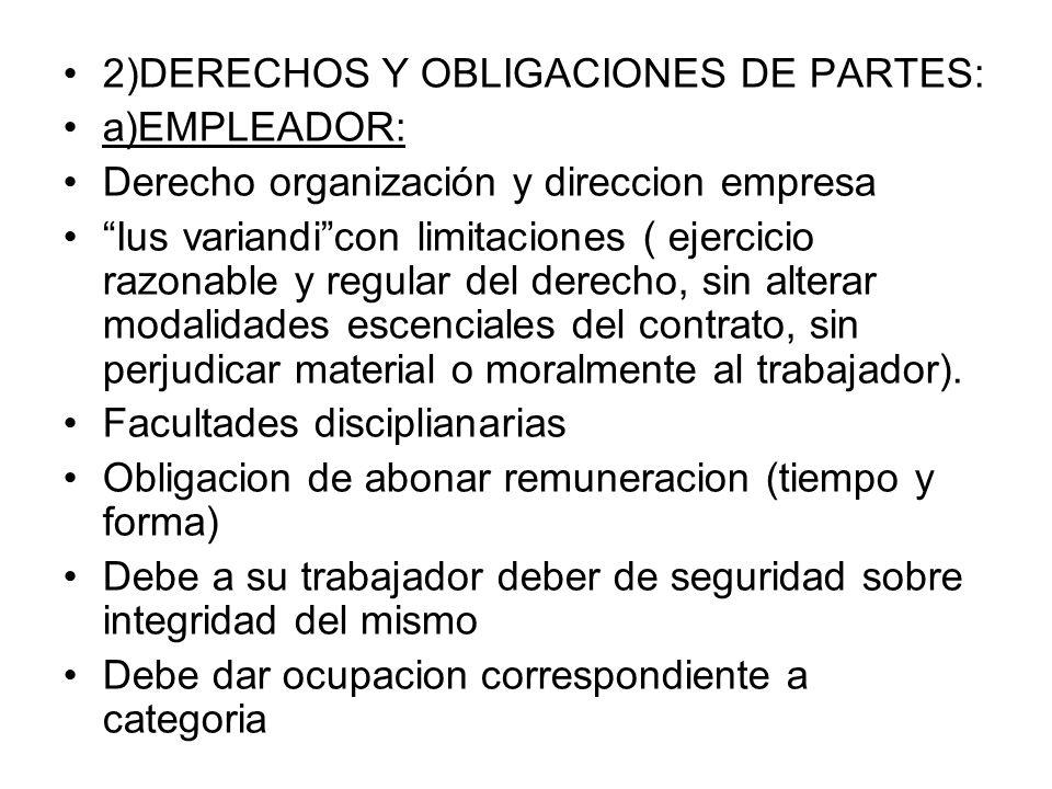 2)DERECHOS Y OBLIGACIONES DE PARTES: a)EMPLEADOR: Derecho organización y direccion empresa Ius variandicon limitaciones ( ejercicio razonable y regula