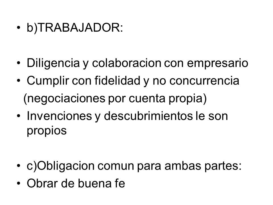 b)TRABAJADOR: Diligencia y colaboracion con empresario Cumplir con fidelidad y no concurrencia (negociaciones por cuenta propia) Invenciones y descubr