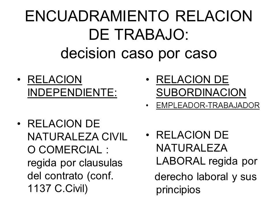 ENCUADRAMIENTO RELACION DE TRABAJO: decision caso por caso RELACION INDEPENDIENTE: RELACION DE NATURALEZA CIVIL O COMERCIAL : regida por clausulas del contrato (conf.