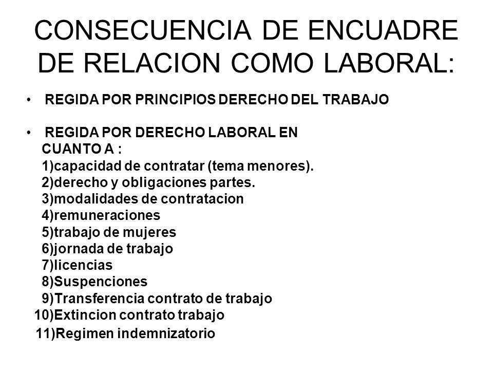 CONSECUENCIA DE ENCUADRE DE RELACION COMO LABORAL: REGIDA POR PRINCIPIOS DERECHO DEL TRABAJO REGIDA POR DERECHO LABORAL EN CUANTO A : 1)capacidad de contratar (tema menores).