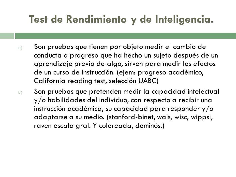 Test de Rendimiento y de Inteligencia.