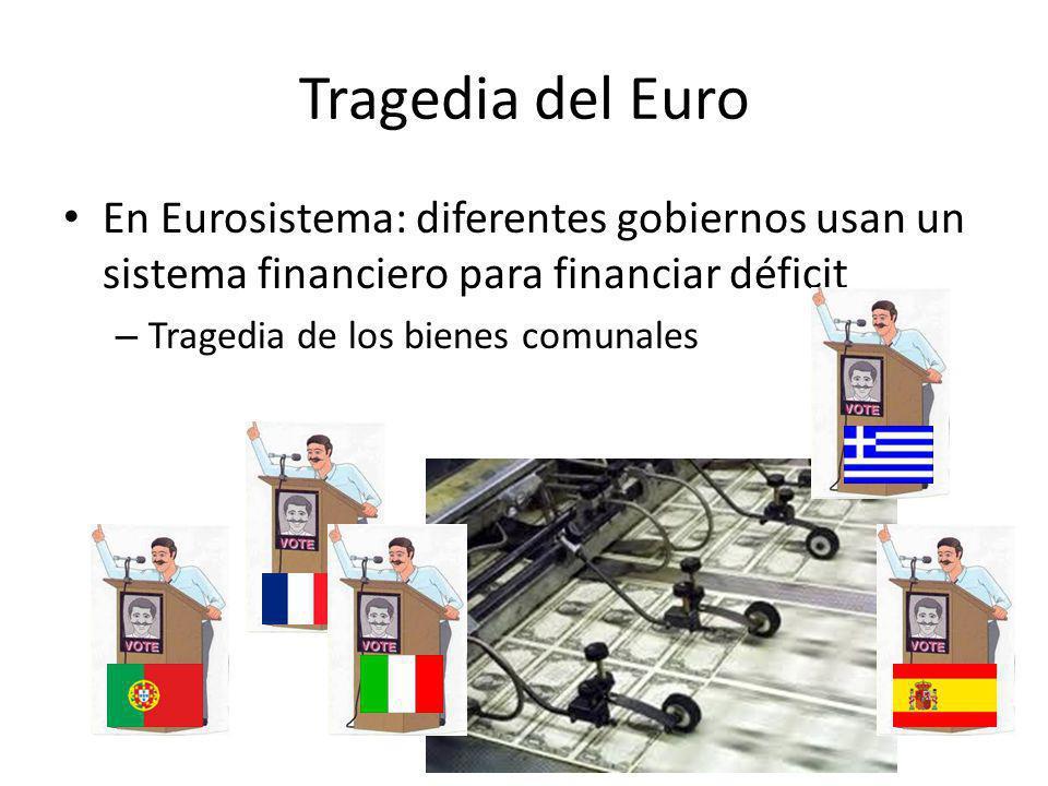 En Eurosistema: diferentes gobiernos usan un sistema financiero para financiar déficit – Tragedia de los bienes comunales Philipp Bagus: La tragedia del euro Tragedia del Euro
