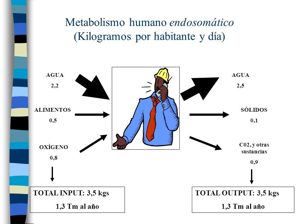 Metabolismo humano endosomático (Kilogramos por habitante y día) AGUA 2,2 ALIMENTOS 0,5 OXÍGENO 0,8 AGUA 2,5 SÓLIDOS 0,1 C02, y otras sustancias 0,9 T