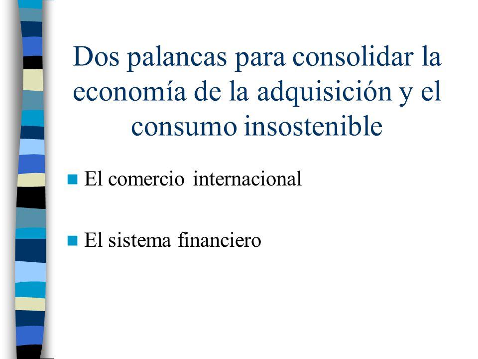 Dos palancas para consolidar la economía de la adquisición y el consumo insostenible El comercio internacional El sistema financiero