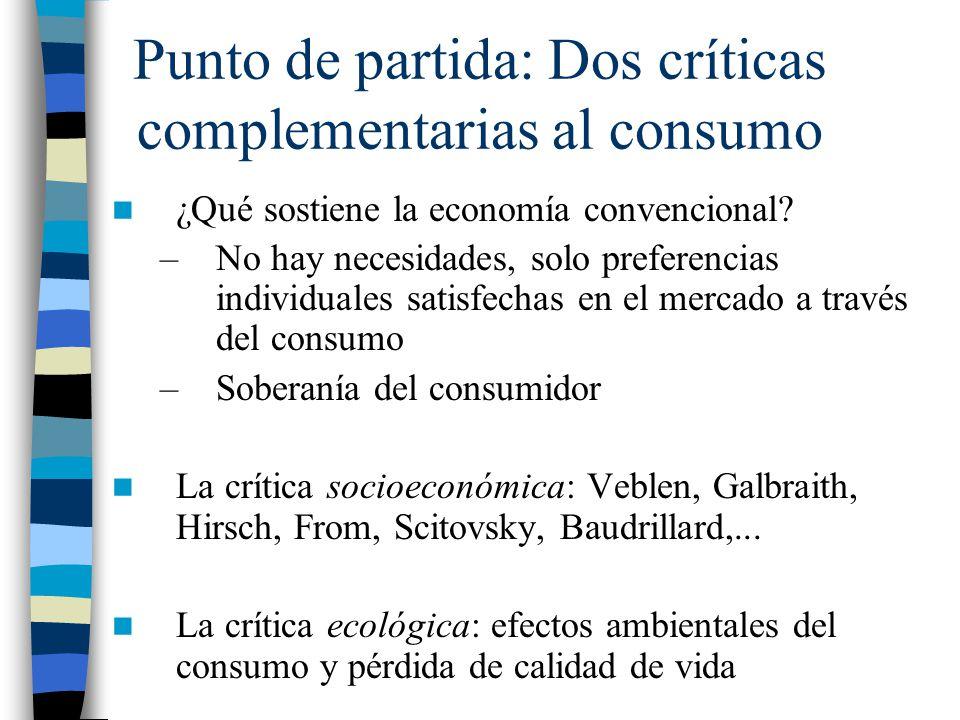 Punto de partida: Dos críticas complementarias al consumo ¿Qué sostiene la economía convencional? –No hay necesidades, solo preferencias individuales