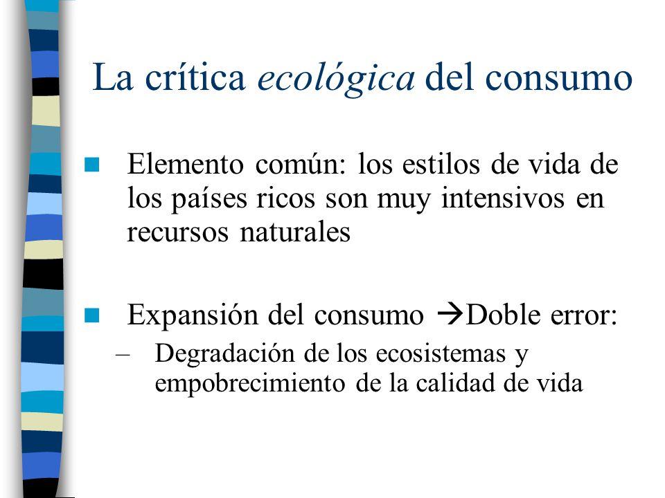 La crítica ecológica del consumo Elemento común: los estilos de vida de los países ricos son muy intensivos en recursos naturales Expansión del consum