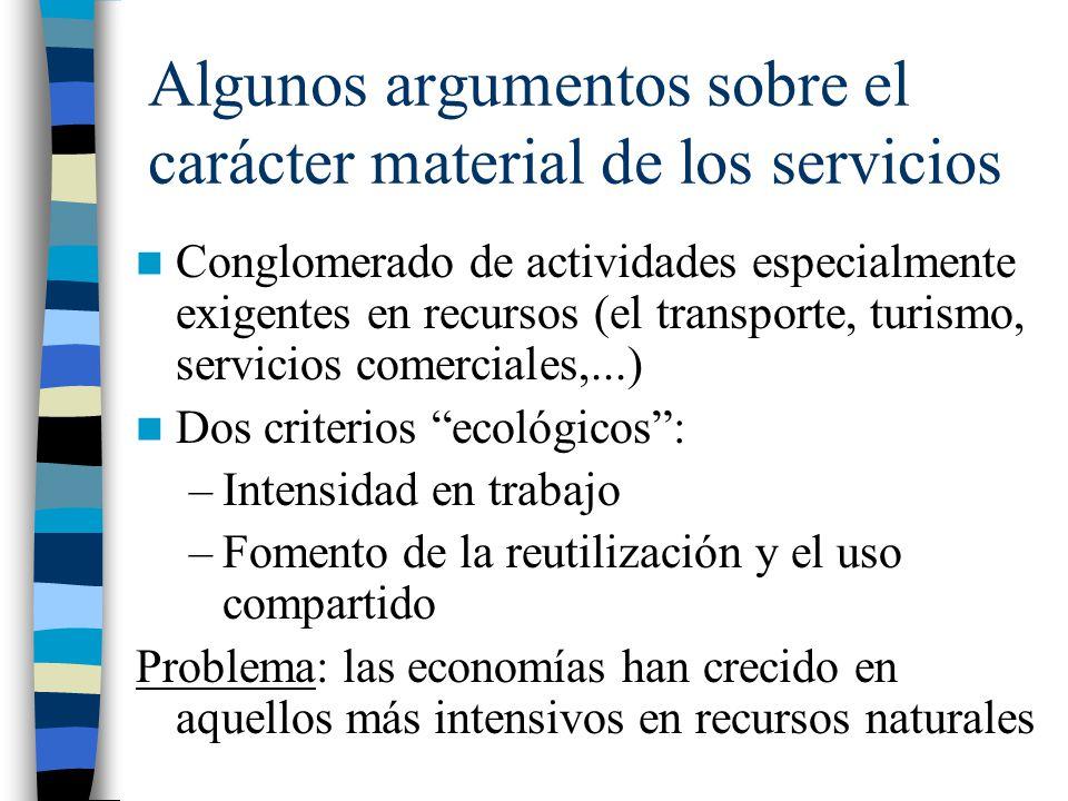 Algunos argumentos sobre el carácter material de los servicios Conglomerado de actividades especialmente exigentes en recursos (el transporte, turismo