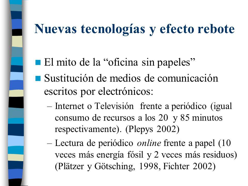 Nuevas tecnologías y efecto rebote El mito de la oficina sin papeles Sustitución de medios de comunicación escritos por electrónicos: –Internet o Tele