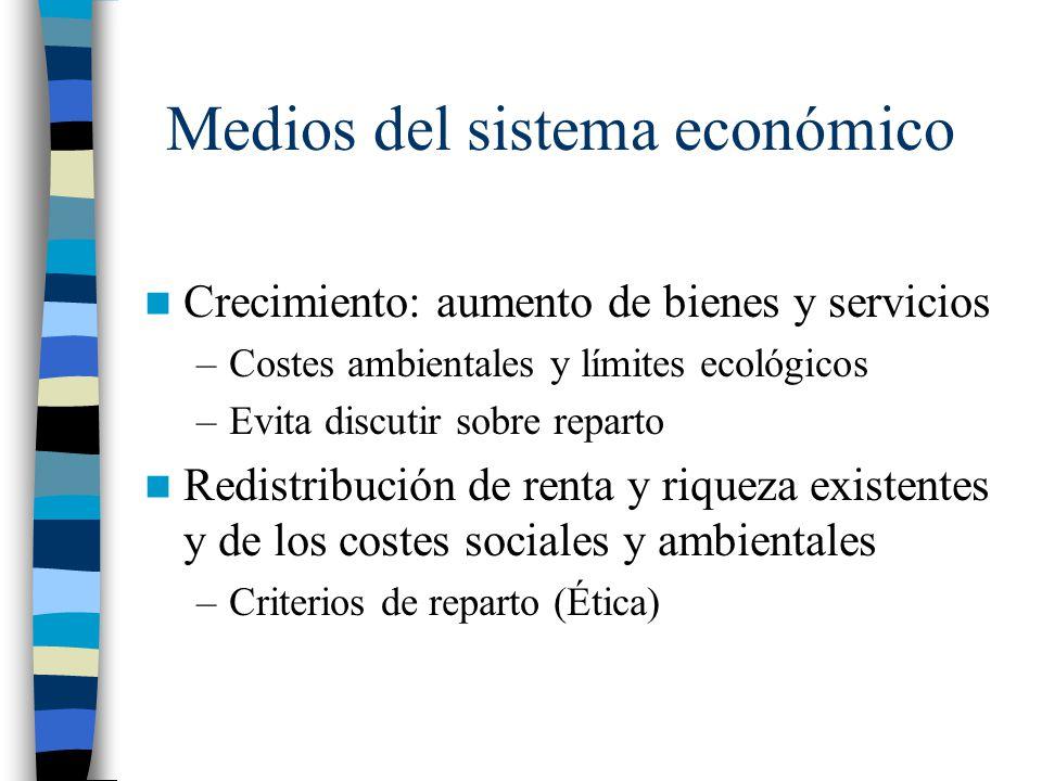 Medios del sistema económico Crecimiento: aumento de bienes y servicios –Costes ambientales y límites ecológicos –Evita discutir sobre reparto Redistr