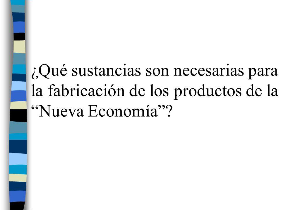 ¿Qué sustancias son necesarias para la fabricación de los productos de la Nueva Economía?