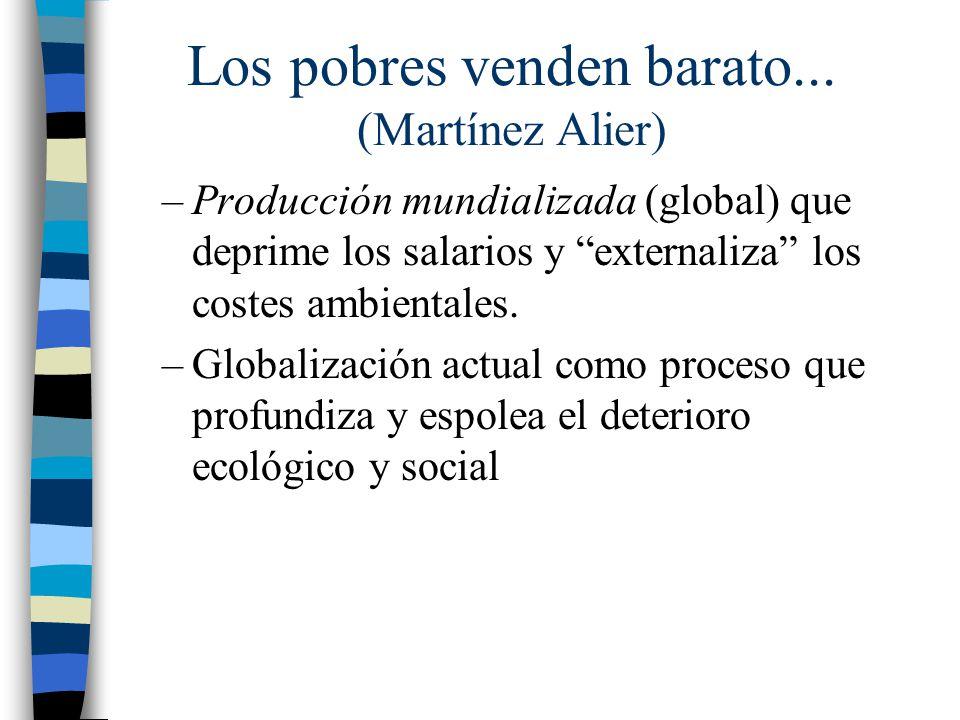 –Producción mundializada (global) que deprime los salarios y externaliza los costes ambientales. –Globalización actual como proceso que profundiza y e