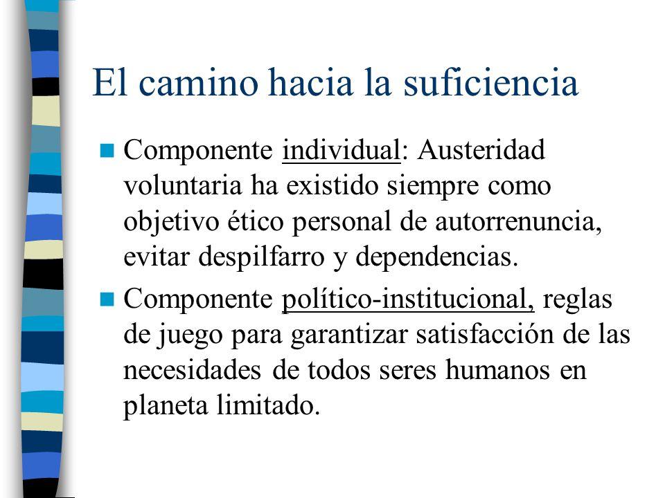 El camino hacia la suficiencia Componente individual: Austeridad voluntaria ha existido siempre como objetivo ético personal de autorrenuncia, evitar