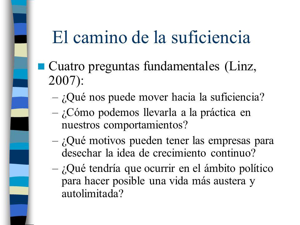 El camino de la suficiencia Cuatro preguntas fundamentales (Linz, 2007): –¿Qué nos puede mover hacia la suficiencia? –¿Cómo podemos llevarla a la prác