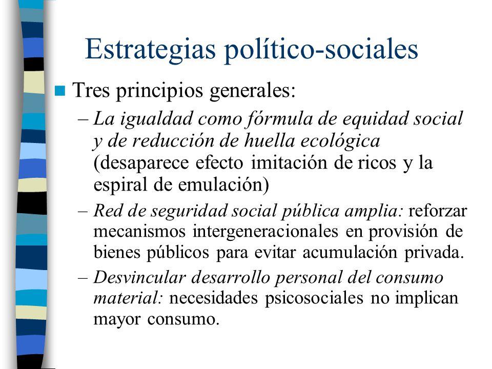 Estrategias político-sociales Tres principios generales: –La igualdad como fórmula de equidad social y de reducción de huella ecológica (desaparece ef
