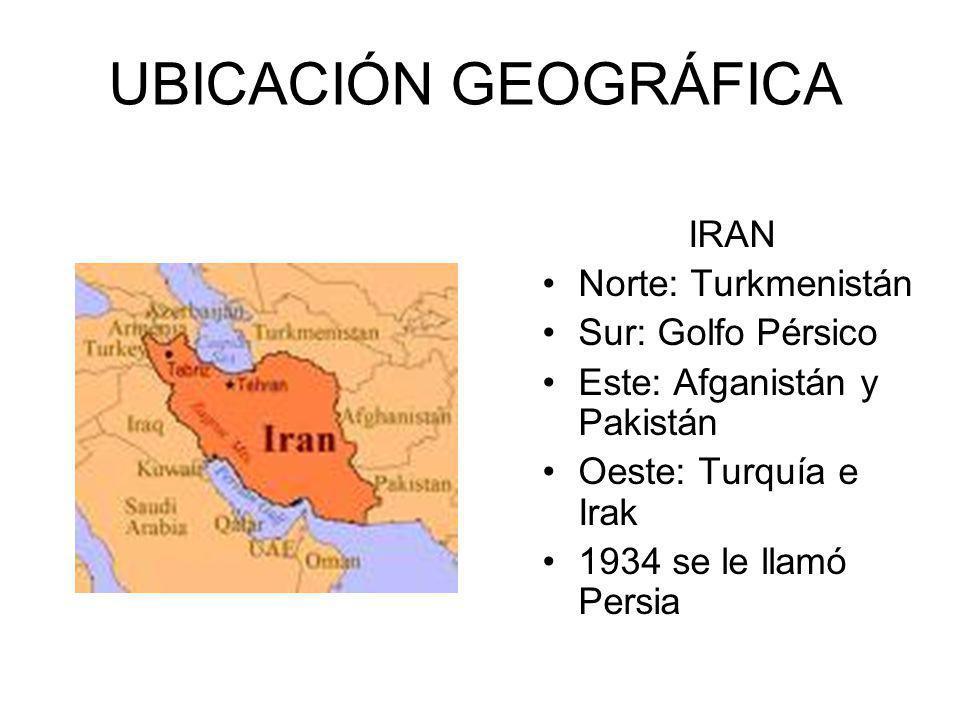 UBICACIÓN GEOGRÁFICA IRAN Norte: Turkmenistán Sur: Golfo Pérsico Este: Afganistán y Pakistán Oeste: Turquía e Irak 1934 se le llamó Persia