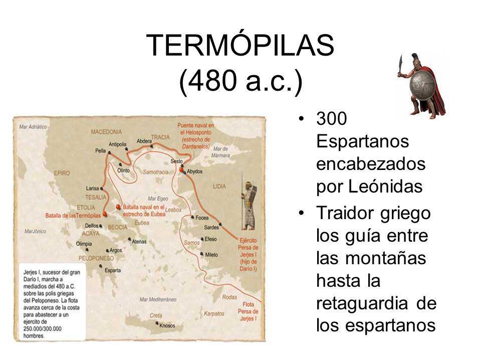 TERMÓPILAS (480 a.c.) 300 Espartanos encabezados por Leónidas Traidor griego los guía entre las montañas hasta la retaguardia de los espartanos