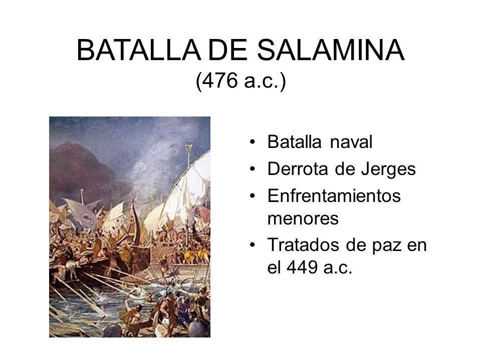 BATALLA DE SALAMINA (476 a.c.) Batalla naval Derrota de Jerges Enfrentamientos menores Tratados de paz en el 449 a.c.