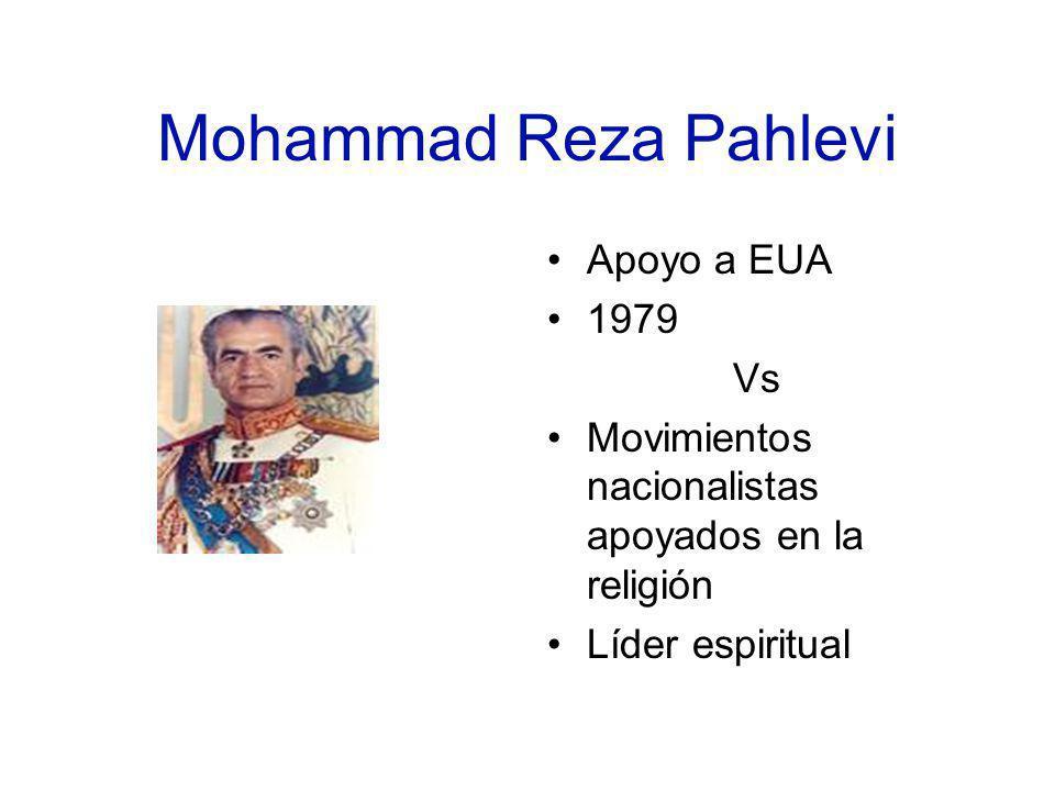 Mohammad Reza Pahlevi Apoyo a EUA 1979 Vs Movimientos nacionalistas apoyados en la religión Líder espiritual