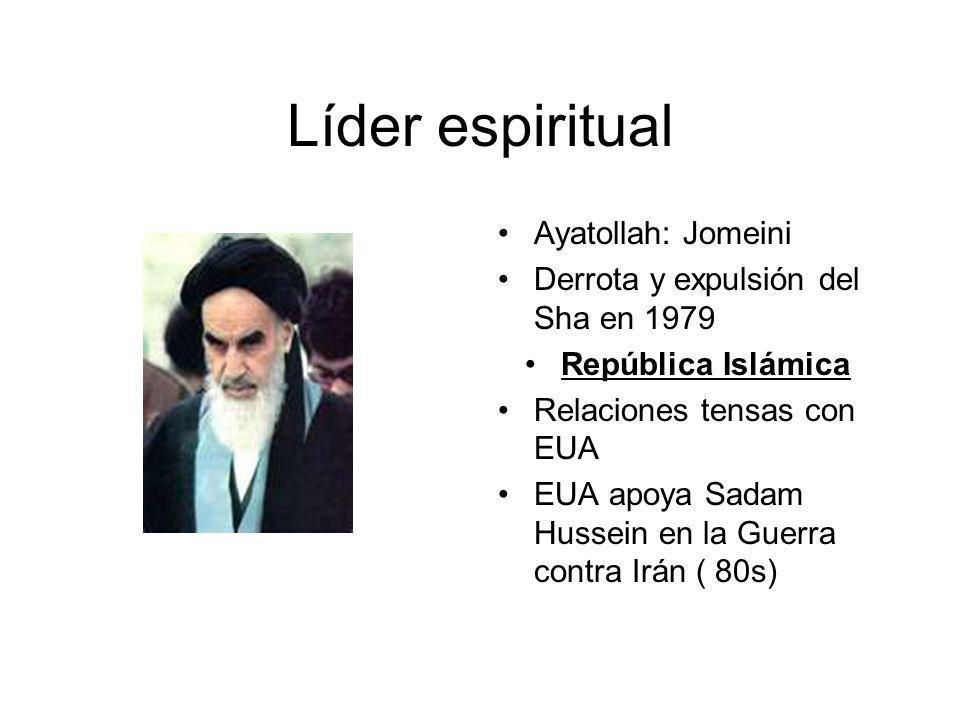 Ayatollah: Jomeini Derrota y expulsión del Sha en 1979 República Islámica Relaciones tensas con EUA EUA apoya Sadam Hussein en la Guerra contra Irán (