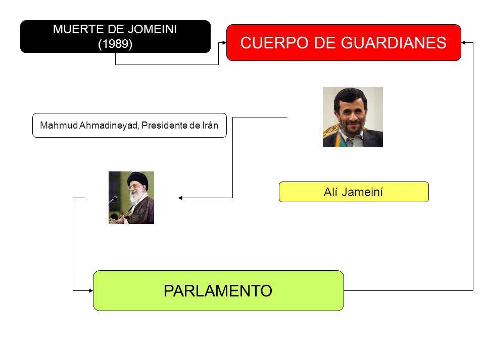 CUERPO DE GUARDIANES MUERTE DE JOMEINI (1989) Alí Jameiní Mahmud Ahmadineyad, Presidente de Irán PARLAMENTO