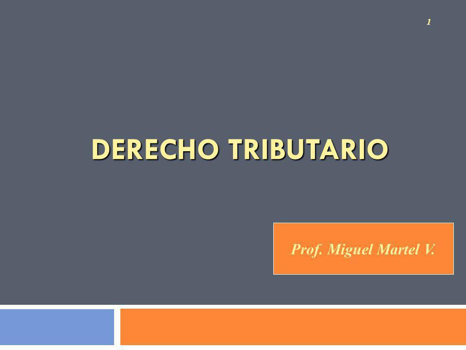 DERECHO TRIBUTARIO 1 Prof. Miguel Martel V.