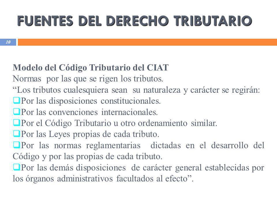 FUENTES DEL DERECHO TRIBUTARIO 10 Modelo del Código Tributario del CIAT Normas por las que se rigen los tributos. Los tributos cualesquiera sean su na