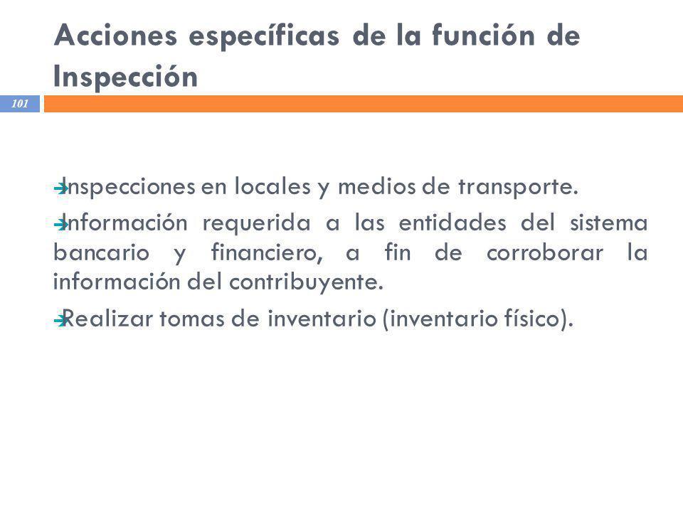 Acciones específicas de la función de Inspección 101 Inspecciones en locales y medios de transporte. Información requerida a las entidades del sistema