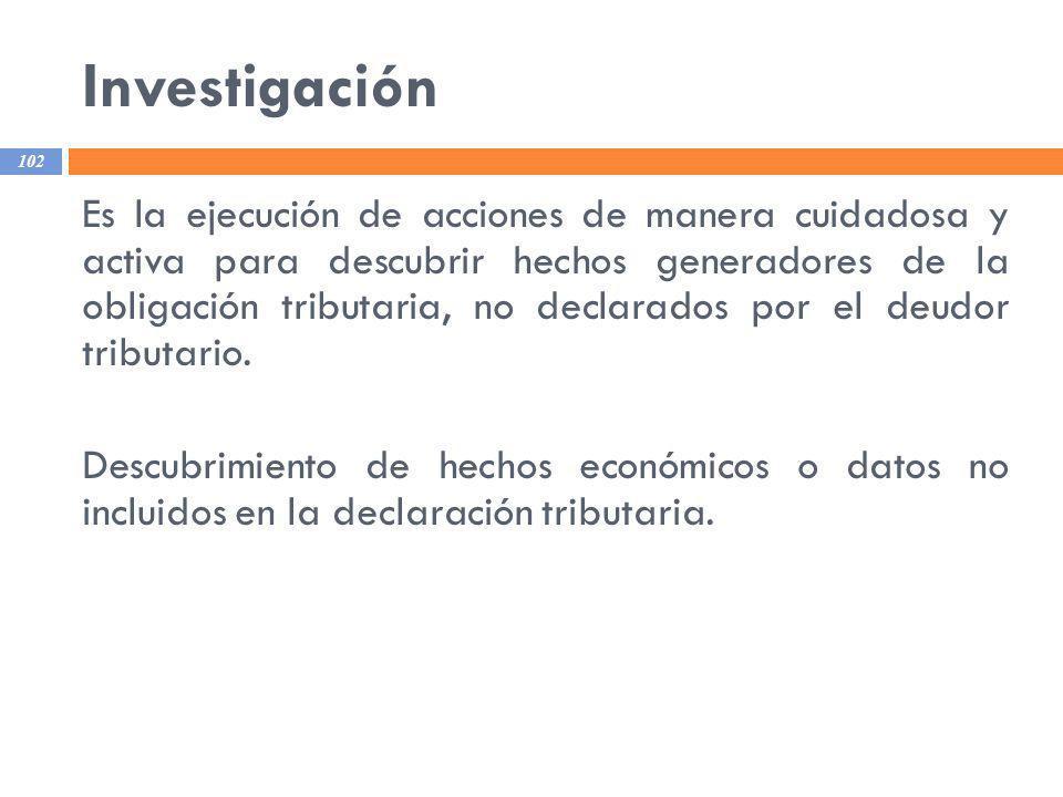 Investigación 102 Es la ejecución de acciones de manera cuidadosa y activa para descubrir hechos generadores de la obligación tributaria, no declarado