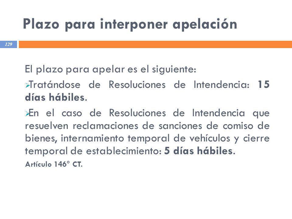 Plazo para interponer apelación 129 El plazo para apelar es el siguiente: Tratándose de Resoluciones de Intendencia: 15 días hábiles. En el caso de Re