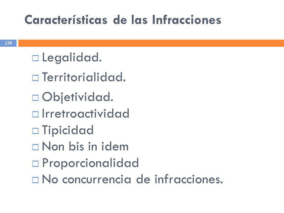 Características de las Infracciones 139 Legalidad. Territorialidad. Objetividad. Irretroactividad Tipicidad Non bis in idem Proporcionalidad No concur