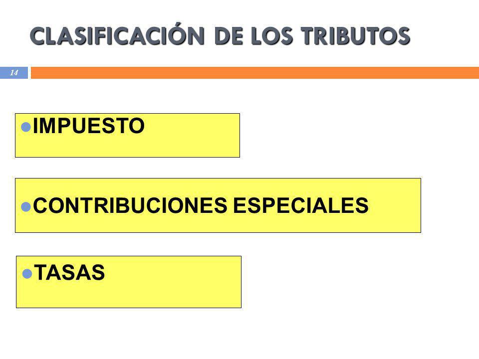 CLASIFICACIÓN DE LOS TRIBUTOS 14 IMPUESTO CONTRIBUCIONES ESPECIALES TASAS