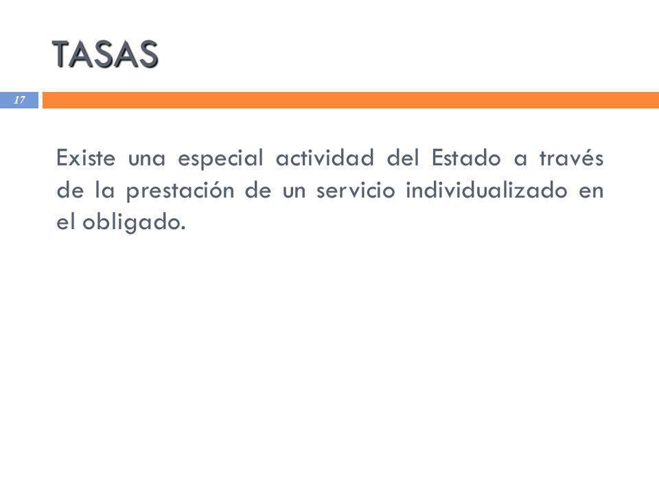 TASAS 17 Existe una especial actividad del Estado a través de la prestación de un servicio individualizado en el obligado.