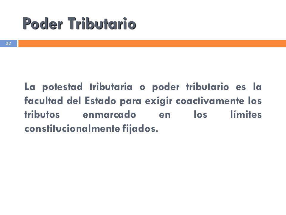 Poder Tributario 22 La potestad tributaria o poder tributario es la facultad del Estado para exigir coactivamente los tributos enmarcado en los límite