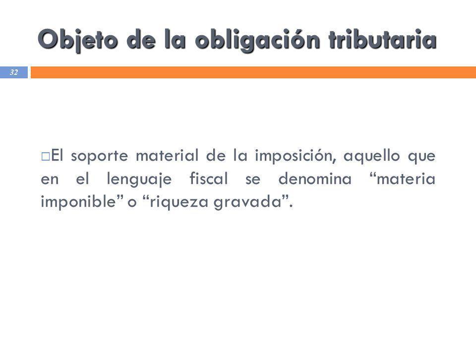 Objeto de la obligación tributaria 32 El soporte material de la imposición, aquello que en el lenguaje fiscal se denomina materia imponible o riqueza