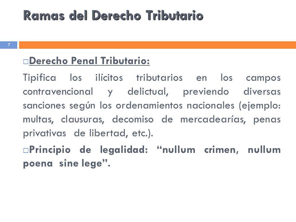 Ramas del Derecho Tributario 7 Derecho Penal Tributario: Tipifica los ilícitos tributarios en los campos contravencional y delictual, previendo divers
