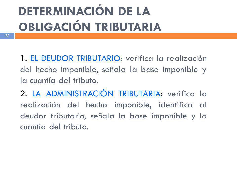 DETERMINACIÓN DE LA OBLIGACIÓN TRIBUTARIA 71 1. EL DEUDOR TRIBUTARIO: verifica la realización del hecho imponible, señala la base imponible y la cuant