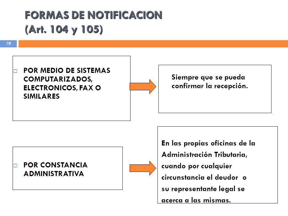 FORMAS DE NOTIFICACION (Art. 104 y 105) POR MEDIO DE SISTEMAS COMPUTARIZADOS, ELECTRONICOS, FAX O SIMILARES POR CONSTANCIA ADMINISTRATIVA Siempre que